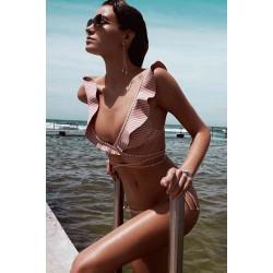 Angelsin Fırfırlı Çizgili Bikini Takım