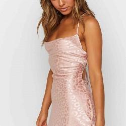 Merry See Baskılı Saten Mini Elbise Pembe