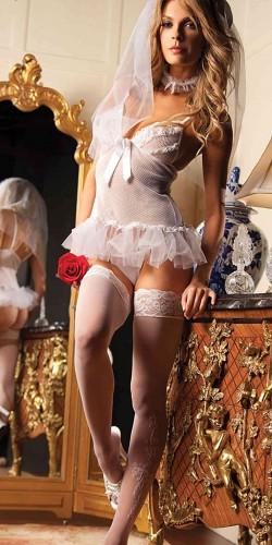 Merry See Seksi Gelin Kız Kostümü+ ÇORAP HEDİYELİ