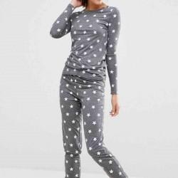 Merry See Gri Yıldız Desenli Pijama Takımı