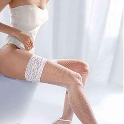 Merry See Beyaz File Silikonlu Dantelli Jartiyer Çorap