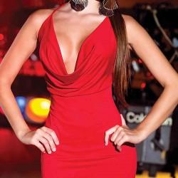 Merry See Sırtı Metal Aksesuarlı Kırmızı Mini Elbise